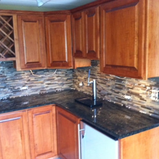 custom kitchen cabinets with a wine rack built in